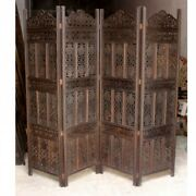 Made To Order Hand Carved Indian 4 Panel Screen Room Divider Chocolate Painted