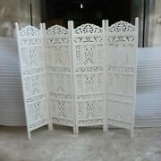 Made To Order Hand Carved Indian 4 Panel Partition Screen Room Divider White L