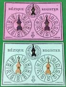 2 X Old Antique Goodall Bezique Registers Playing Cards Game Markers Scorers 3