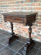 Antique 19th Century French Style Walnut Trestle Table Library Desk W/drawer