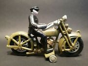 Antique Vintage Style Cast Iron Toy Motorcycle Police Patrol Rider