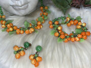 Miriam Haskell Early Hand Blown Glass Necklace Earrings Bracelet Set A7