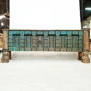 Made To Order Indian Solid Antique Old Door Tribal Console Large Hall Table Blue