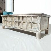 Made To Order Indian Solid Antique Old Door Tribal Chest Large Hall Table White