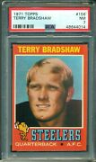 Terry Bradshaw 1971 Topps Rookie 156 Psa 7 Hot Hall Of Famer Rookie Card