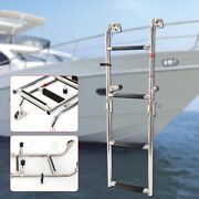Quality Stainless Steel 4 Step Marine Folding Boarding Ladder Boat Yacht New