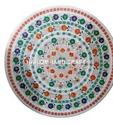 White Marble Coffee End Table Top Malachite Floral Work Inlay Mosaic Decor H2918
