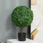 Indoor/outdoor 23.5 Inch Faux Boxwood Greenery W/ High-quality Color And Pot