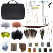 Dr.fish Fly Tying Kit Material Tools Fly Fishing Feather Fur Flies Lures Diy