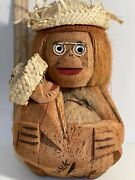 Vintage Carved Coconut Monkey Mama And Baby With Straw Hats And Glasses