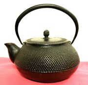 Chinese Small Cast Iron Black Tea Kettle Aluminum Strainer Hobnail Collectible