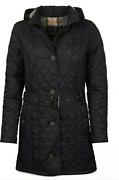 Barbour Womens Evie Quilted Hooded Jacket Coat Us 14 Black W/ Plaid Detail