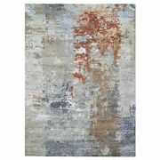 9and039x12and0393 Farsian Knot Gray Wool And Silk Denser Weave Hand Knotted Rug R66442