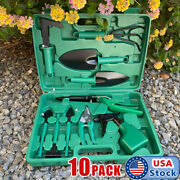 10pc Garden Tool Set Vegetable Flower Gardening Hand Tools Kits W/ Carrying Case