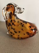 Murano Style Art Glass Dog Amber With Black Spots/ Clear Head And Tail