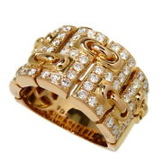 Us 6.8 Wide Diamond 1.04ct In Total Ring 18k Pink Gold 13.8g Women