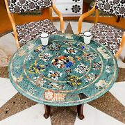 Antique Green Marble Top Restaurant Table Multi Stone Marquetry Design Home Deco