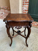 Antique French Carved Side Table Jewelry Cabinet Louis Xv Renaissance Faux Bois