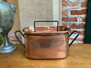 19th Century Antique French Polished Copper Pot Pan Lid Iron Kitchen Vessel