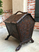 Antique French Carved Oak Black Forest Canterbury Box Stand Sheet Music Magazine