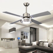 Stainless Steel Ceiling Fan 52 Inch Indoor Chandelier 3 Colors Change W/ Remote