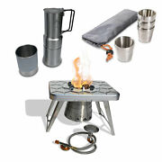 Ncamp Basic 4 Pack 6 Oz Cups Set W/ Camping Stove, Adapter Hose And Coffee Maker