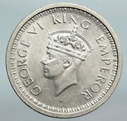 1945 India States Indian Coin Uk King George Vi Antique Silver Rupee Coin I90289
