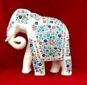 13and039and039 Outdoor Marble Multi Inlaid Elephant Sculpture Marquetry Decoration H3766