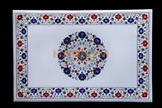 3and039x2and039 White Marble Table Top Lapis Carnelian Floral Inlay With 14 Base Leg W609