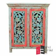 Made To Order Hand Carved Indian Handmade Red-green Wood Blue Sideboard Floral