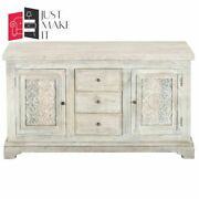 Made To Order Hand Carved Indian Handmade Solid Wood White Sideboard Floral