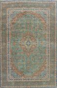 Floral Semi-antique Turquoise Hand-knotted Area Rug Wool Oriental Carpet 9x12 Ft