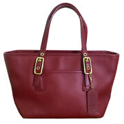 Coach Hamptons Legacy Bag Dark Red Leather Satchel 9846 Small