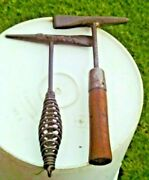 Lot Of 2 Vintage Arc Welding Hammers Slag Chippers Wood And Metal Handles