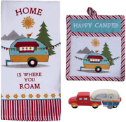 18th Street Gifts Happy Camper Rv Decor - Dish Towel Oven Mitt And Salt Pepper