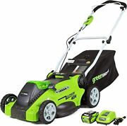 Greenworks G-max 40v 16and039and039 Cordless Lawn Mower With 4ah Battery - 25322 Model
