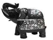 Black Marble Elephant Mother Of Pearl Fine Floral Gemstone Rare Inlay Decor H545