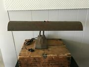 Vtg Steampunk Industrial Antique Salvage Brown Metal Drafting Table Lamp Light