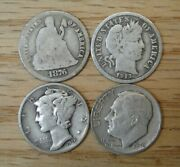 Four 4 Vintage Silver Dimes Seated Liberty Barber Mercury Roosevelt