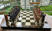 Luxury Chess Set With Mythological Figurines And Handmade Wooden Chess Board Game
