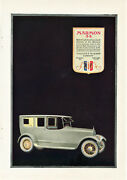 1919 Vintage Marmon Limousine Color Ad. French General Staff Wwi