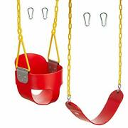 Squirrel Products Combo - High Back Full Bucket Swing Triangle And Chain Dip...