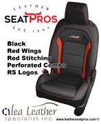 Alea Leather Seat Covers 2016-21 Camaro Coupe Convertible Black Red Rs Logos