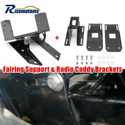 Black Front Fairing Support Mount And Radio Caddy For 2004-2013 Harley Road Glide