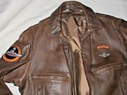Vintage Schott Nyc Pilot Aviator Bomber Leather Jacket Zip Out Liner Usa 44 Look