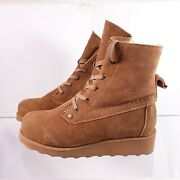 Size 9 Womenand039s Bearpaw Krista Shearling Wedge Winter Ankle Boots Water Resistant