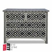 Bone Inlay Chest Of Drawer Black And White Floral Made To Order