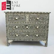 Bone Inlay Chest Of Drawers Black And White Floral L Made To Order