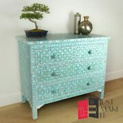 Bone Inlay Chest Of Drawer Sideboard Blue Floral Made To Order