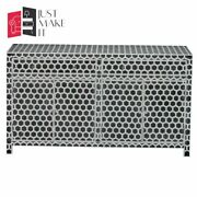 Bone Inlay Wooden Honeycomb 2 Drawer And 4 Door Sideboard Black Made To Order